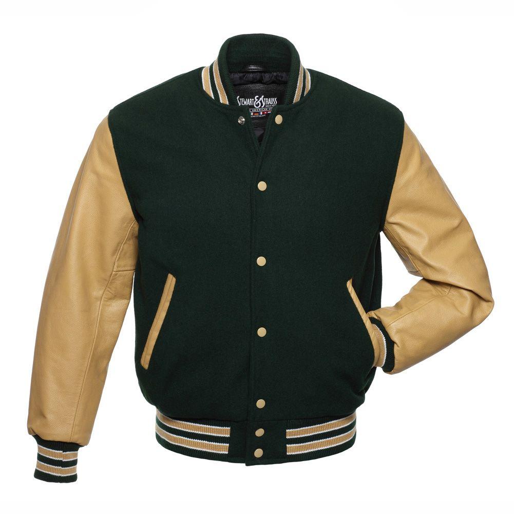Jacketshop Jacket Forest Green Wool Tan Leather Letter Jacket