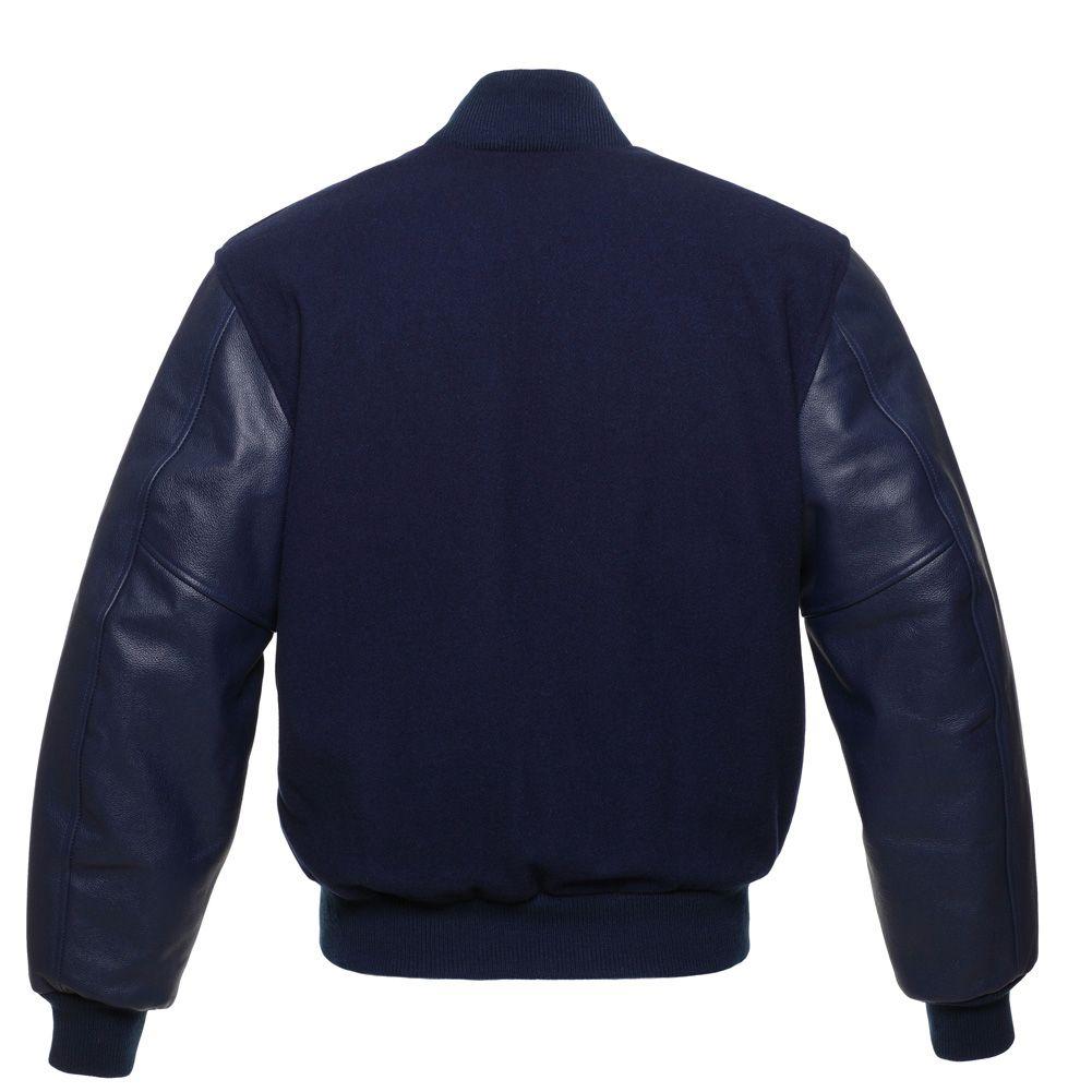 Jacketshop Jacket Navy Blue Wool Navy Blue Leather Varsity Jacket