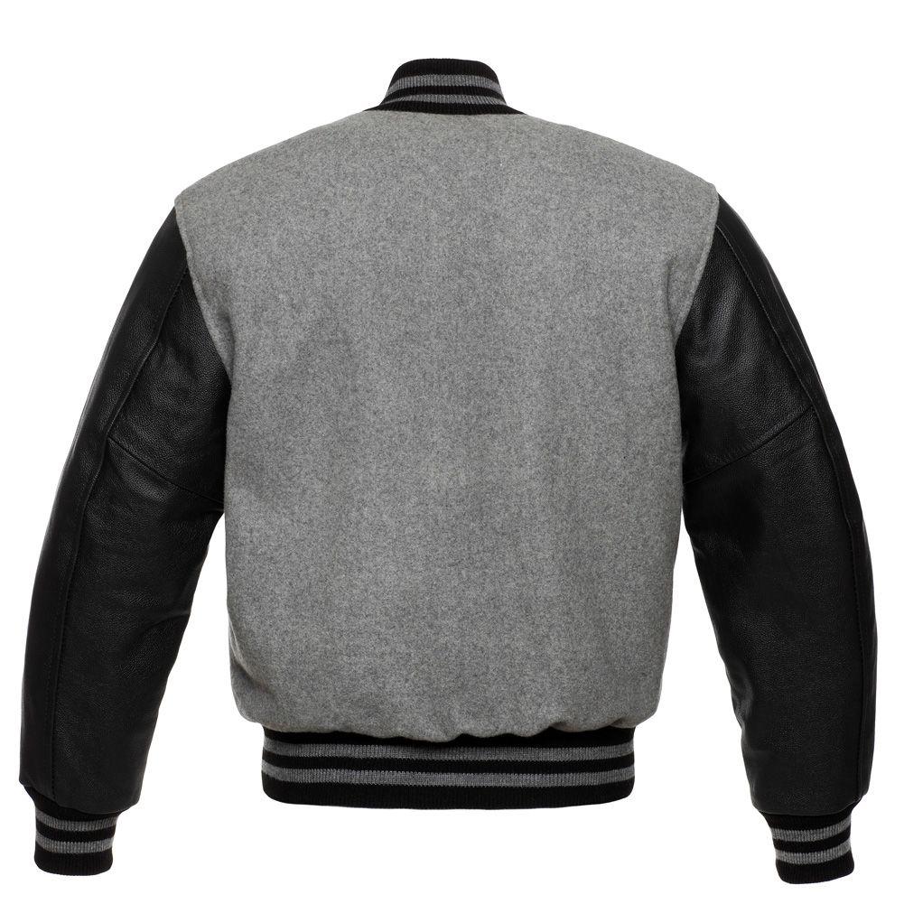 Jacketshop Jacket Grey Wool Black Leather Letterman Jackets