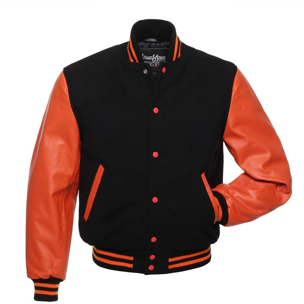Jacketshop Jacket Black Wool Orange Leather College Jackets
