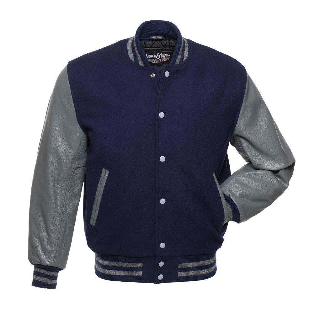 Letterman Jacket Varsity Jacket Baseball Jacket White leather Sleeves Navy Blue Wool
