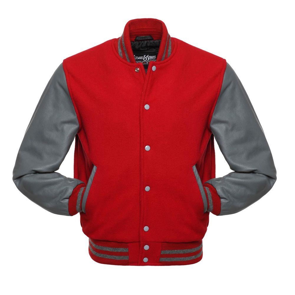 Jacketshop Jacket Scarlet Red Wool Grey Leather Varsity Jackets