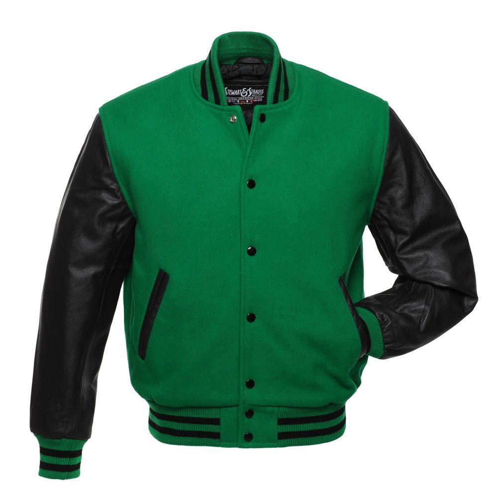 Jacketshop Jacket Kelly Green Wool Black Leather Letterman Jacket