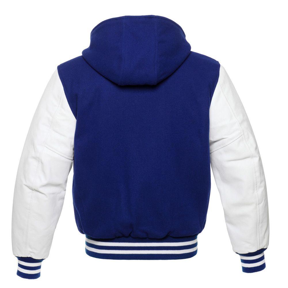 Jacketshop Jacket Hoodie Royal Blue Wool White Leather Varsity Jacket