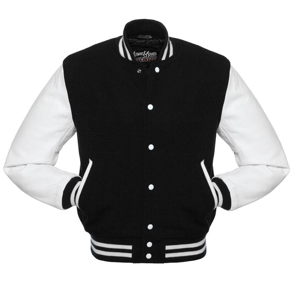Jacketshop Jacket Black Wool White Leather Letterman Jacket
