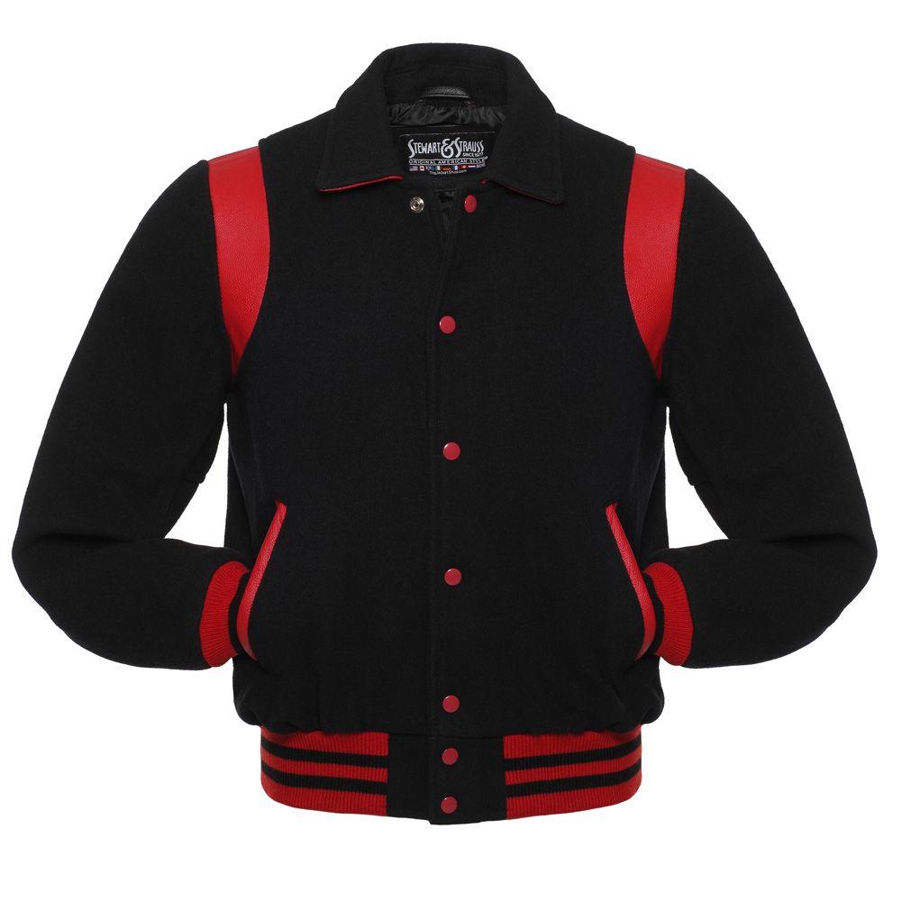 Jacketshop Jacket Retro Black Wool Red Leather College Jackets