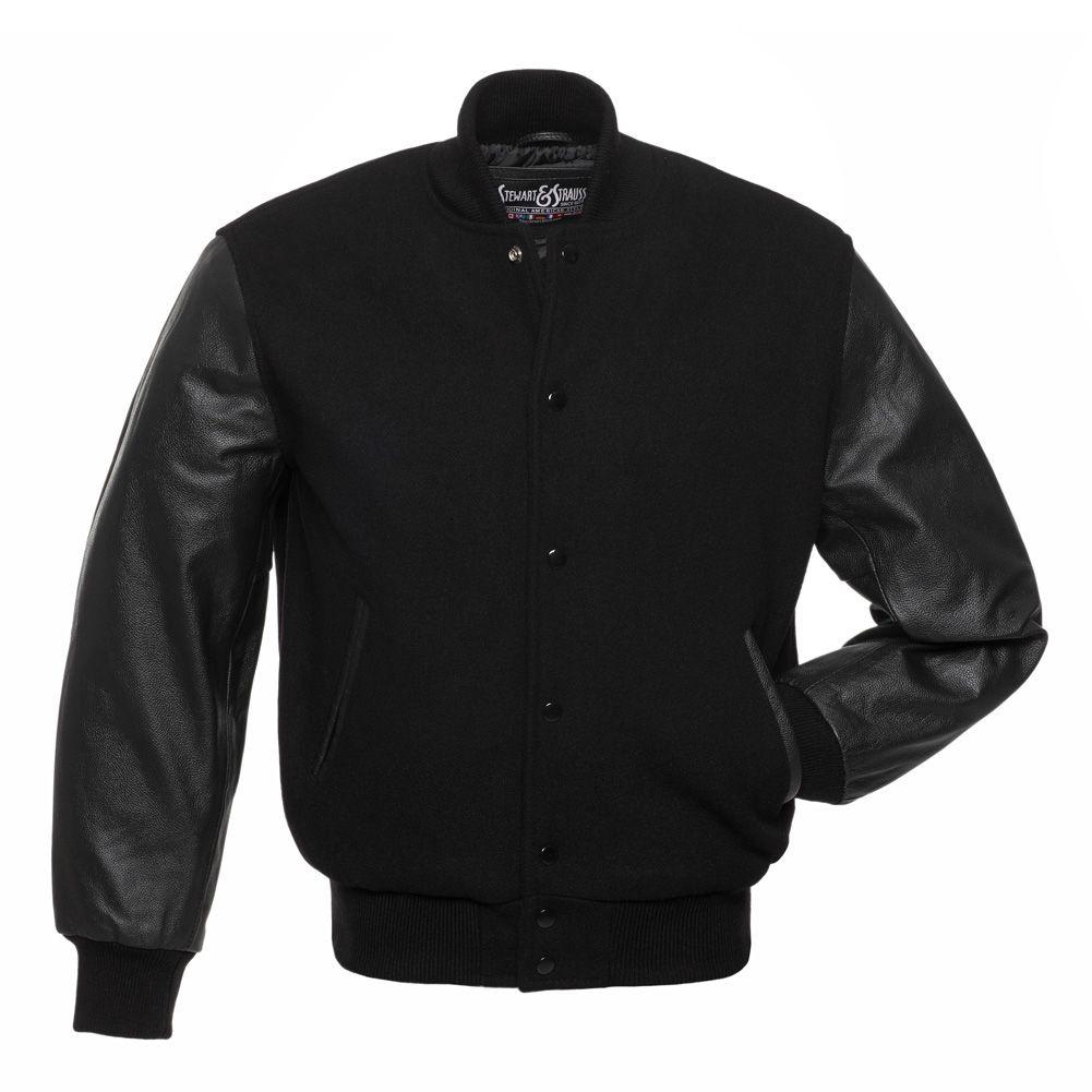 Jacketshop Jacket Plain Black Wool Leather Varsity Jackets