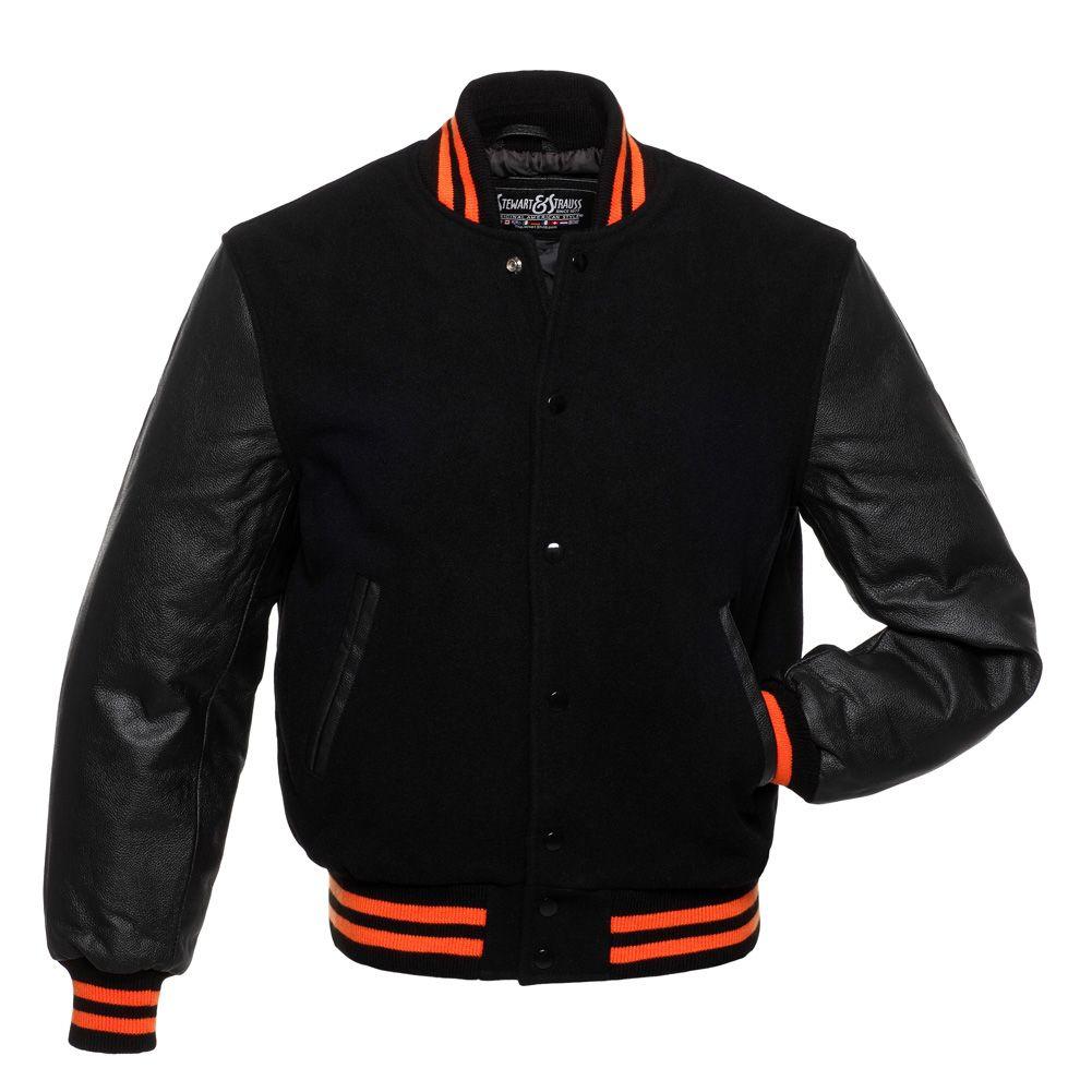 Jacketshop Jacket Black Wool Black Leather Orange Trim Letterman Jackets