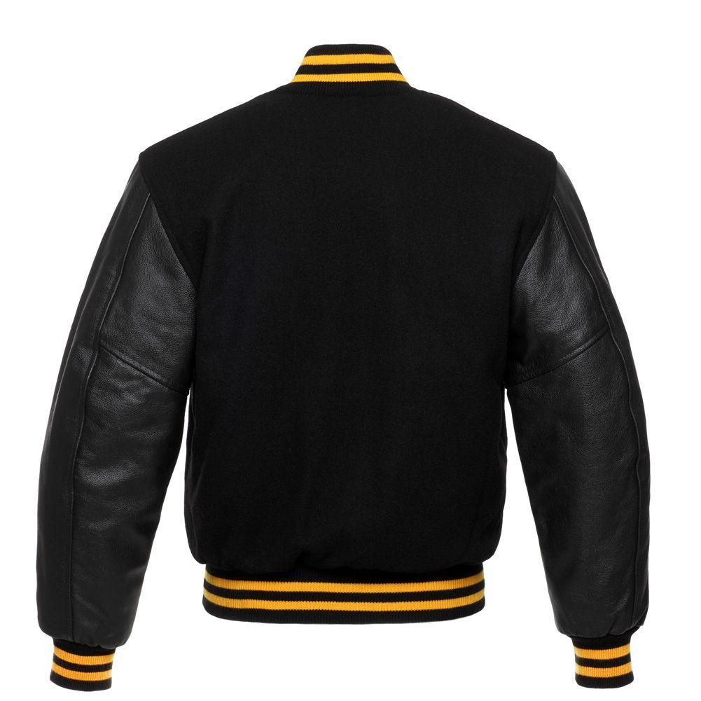 Jacketshop Jacket Black Wool Black Leather Gold Trim Varsity Jackets