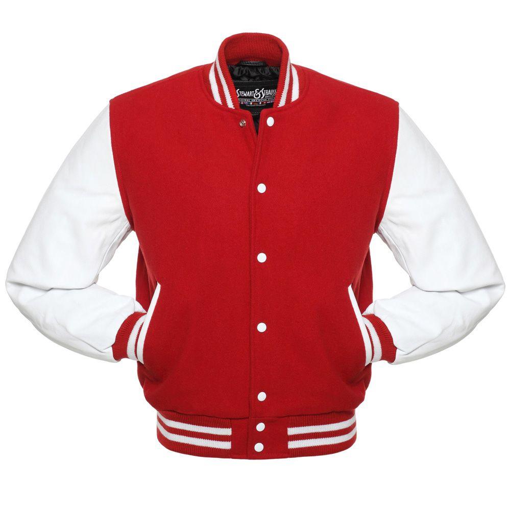 Jacketshop Jacket Scarlet Red Wool White Leather Letter Jacket