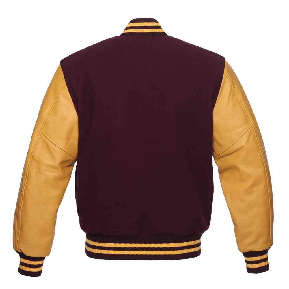 Jacketshop Jacket Maroon Wool Gold Leather Letterman Jacket