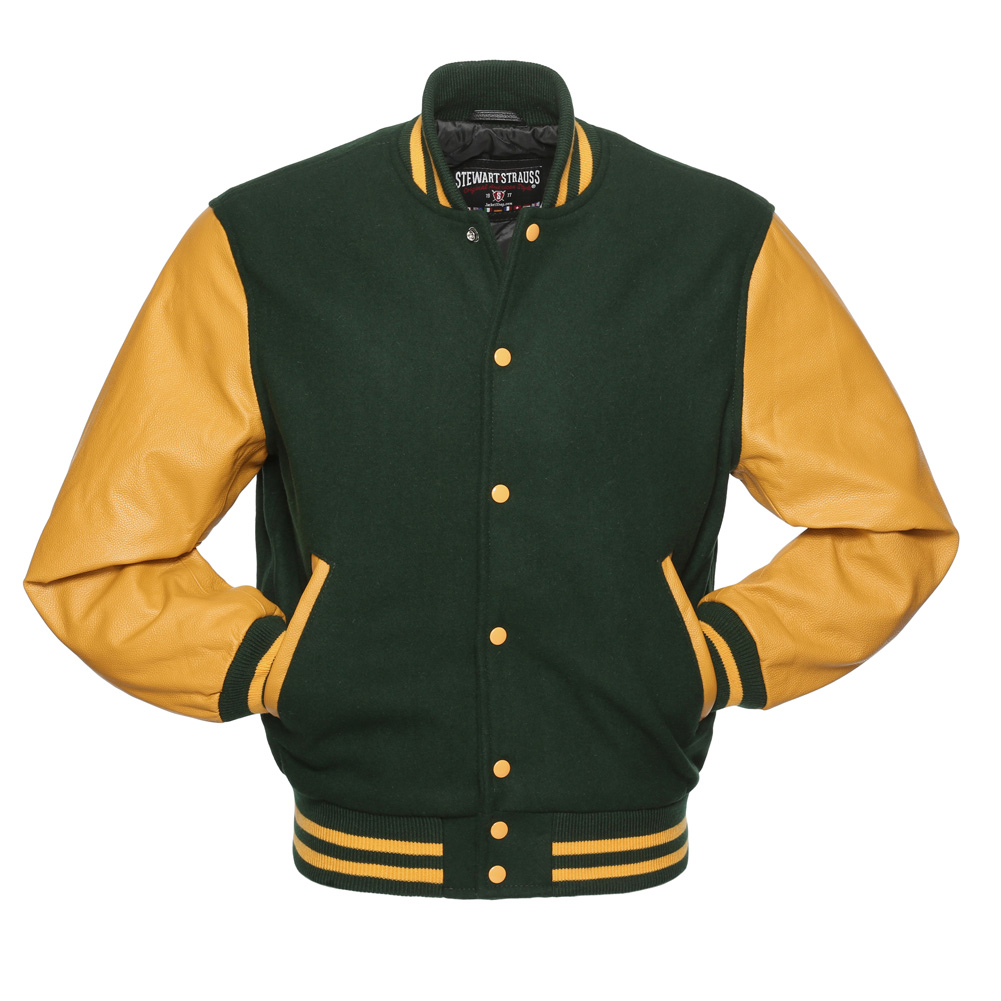 Jacketshop Jacket Forest Green Wool Gold Leather Letterman Jacket