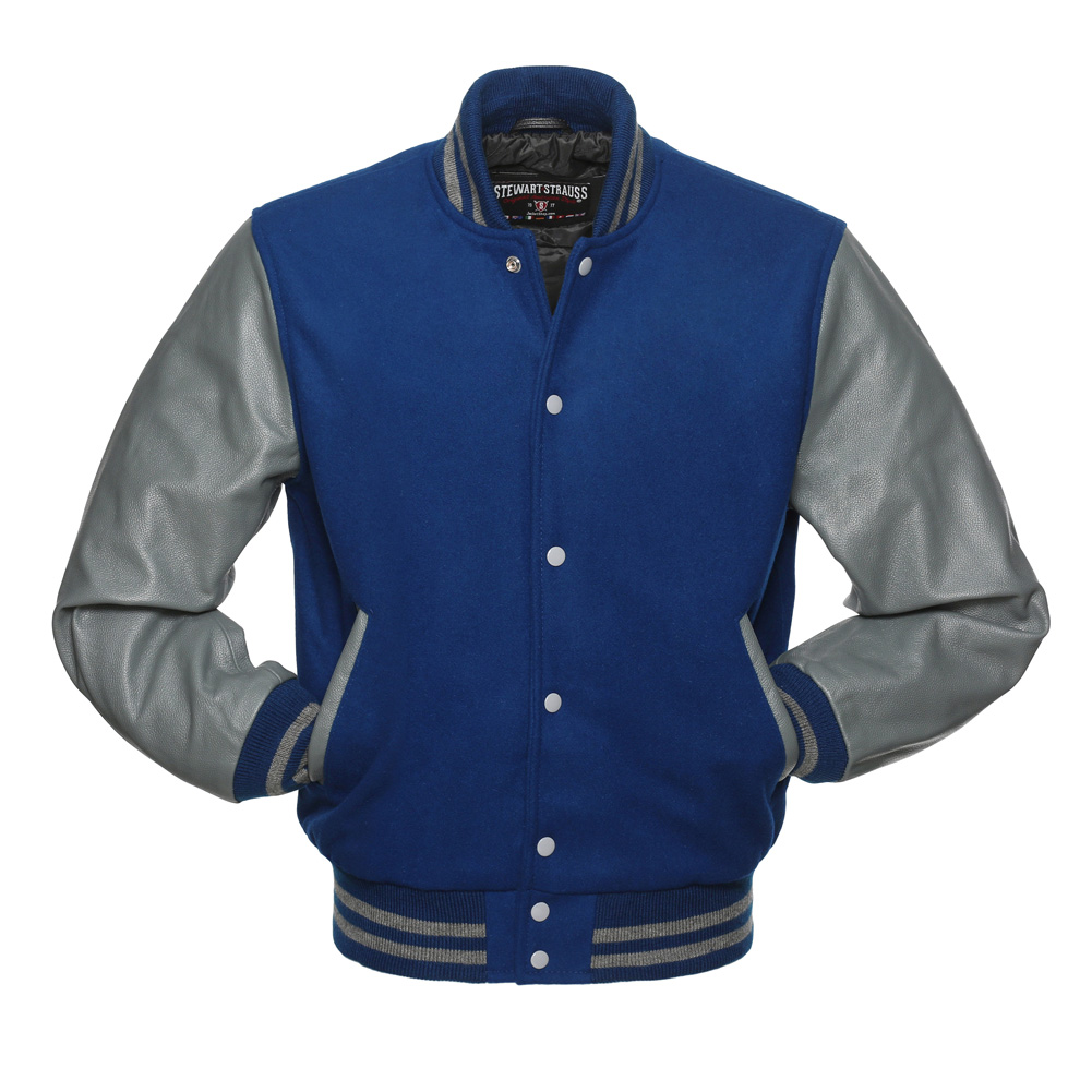 Jacketshop Jacket Royal Blue Wool Grey Leather Letterman Jacket