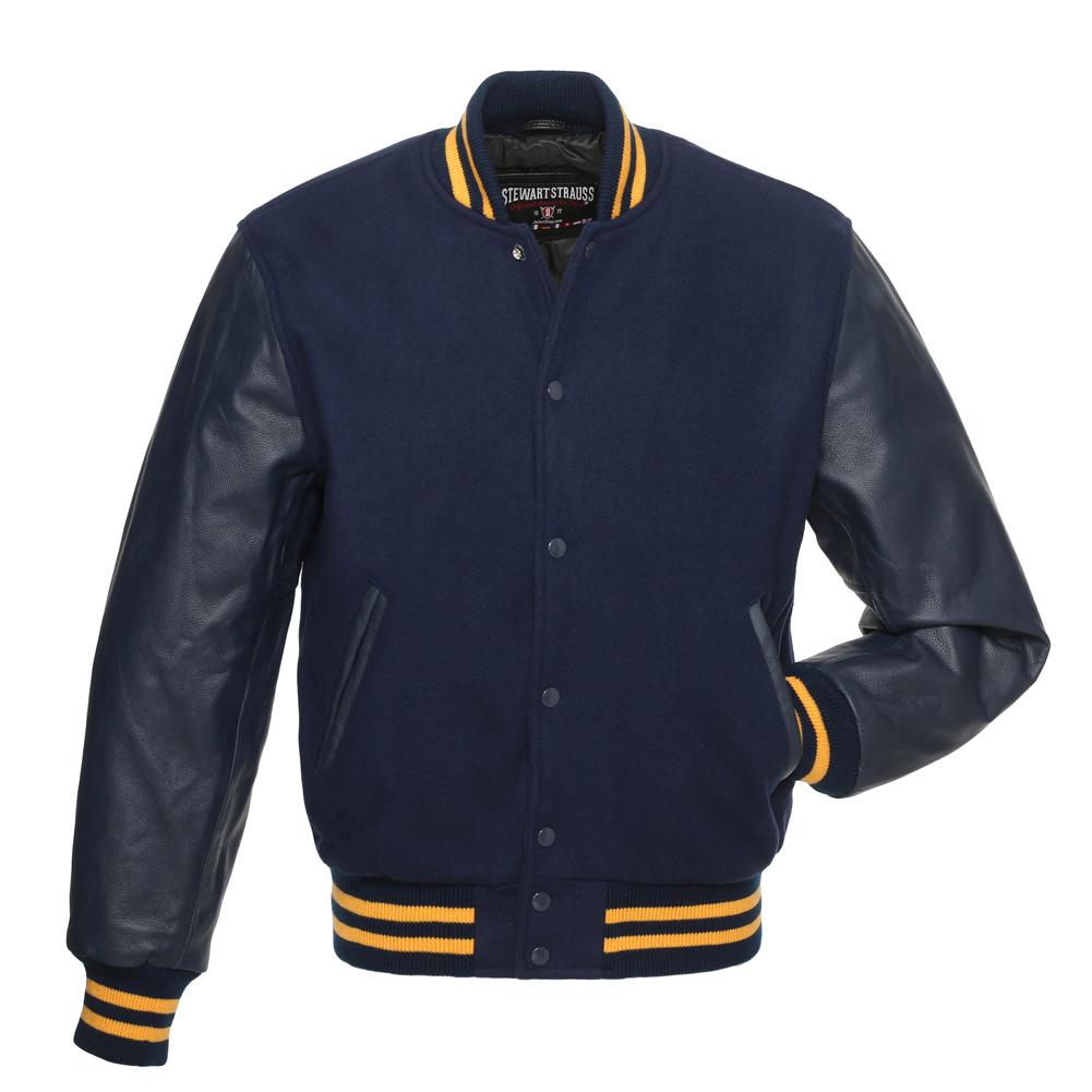 New Varsity Jackets Navy Blue Body Gold Sleeves Letterman Boys College Jackets