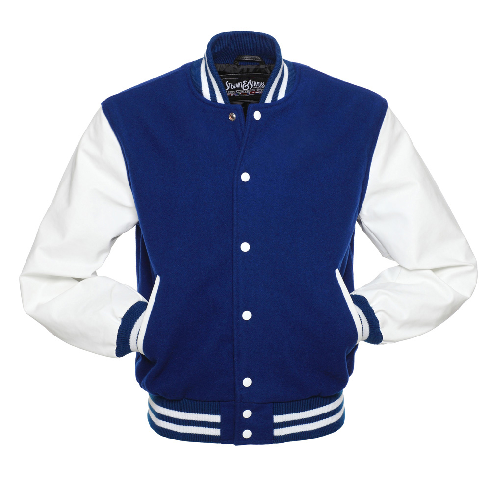 Jacketshop Jacket Royal Blue Wool White Leather Varsity Jacket