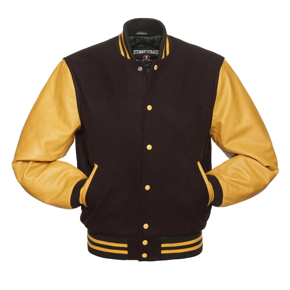 Jacketshop Jacket Brown Wool Gold Leather Letterman Jacket