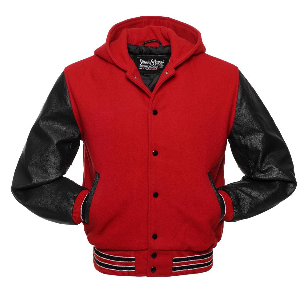 Jacketshop Jacket Hoodie Scarlet Red Wool Black Leather Letterman Jackets